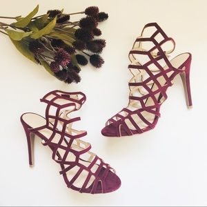 Like New Deep Red Caged Heels